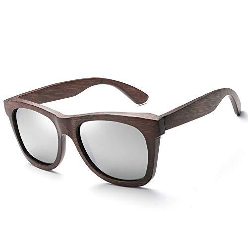 Klassische polarisierte Holzbrille Vintage Bamboo Wood Sonnenbrille Brille (Color : Silber, Size : Kostenlos)