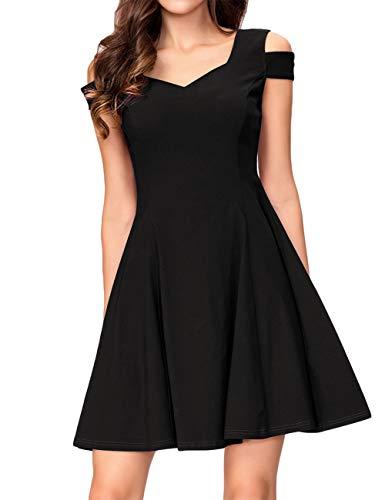 KOJOOIN Damen Vintage 50er Cocktailkleid Abendkleider V-Ausschnitt Ballkleid Ärmelloses Kurzes Sommerkleid Schwarz 【EU 34-36】/S -