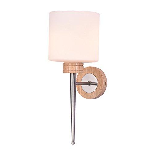 LiuJF Lampe de chevet en bois de chambre à coucher, lampe de mur de décoration en bois solide créative Allée lampe de mur lampe de mur en verre simple tête E27, taille 38CM Eclairage de sécurité