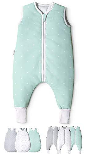 Ehrenkind® Babyschlafsack mit Beinen   Bio-Baumwolle   Ganzjahres Schlafsack Baby Gr. 80 Farbe Mint mit weißen Sternen
