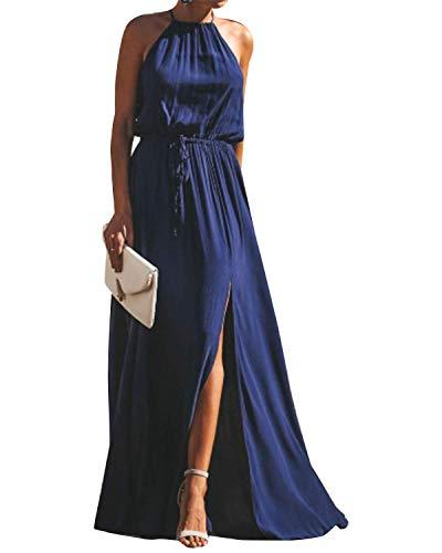 YOINS Robe Longue Été Chic Femme Robe Maxi Élégante Robe Soirée Asymétrique Robe Tunique Bohême Bretelles Bleu Foncé EU 44