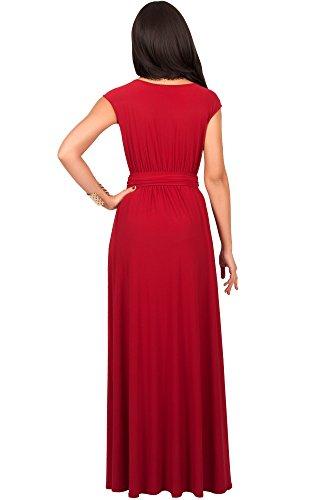 KOH KOH Da Donna Maxi abito elegante da cocktail da sera a manica corta Vestiti Rosso cremisi