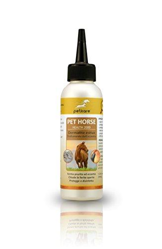 peticare cavallo lozione contro dermatite estiva - trattamento speciale per cavalli con reazioni allergiche, per tutti i tipi di dermatite - 100% biologico - pethorse health 2000 (100 ml)