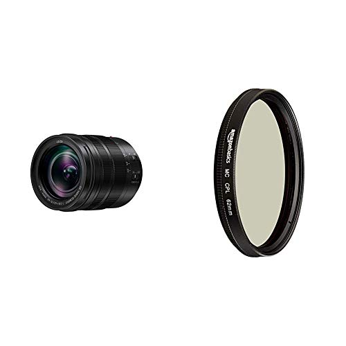 Panasonic H-ES12060E Leica DG Vario-Elmarit Kamera Objektive (12-60mm/F2.8-4.0, Standardzoom, Dual I.S, Staub- & Spritzwasserschutz, schwarz) & AmazonBasics Zirkularer Polarisationsfilter - 62mm