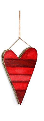One Holiday Lane Rustikale Rot Gestreift Herz Valentinstag Dekorationen-Zum Aufhängen Ornaments-3Größen Medium