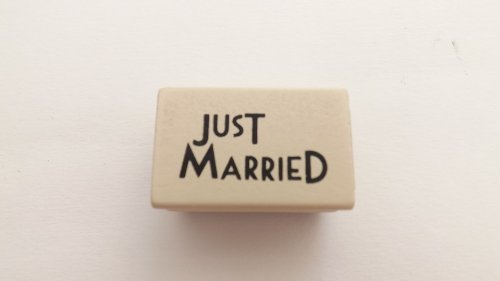 Wooden Rubber Stamp - Just Married - Wedding Cards by East of India