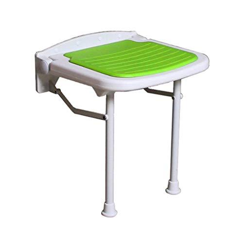 Liuhoulin Faltbare Wand-Duschhocker Wandmontierter Duschsitz Hocker Faltbare Änderungsschuhe Hocker für ältere/behinderte Anti-Rutsch-Stuhl mit verstellbaren Beinen Hocker in Grün 250 kg