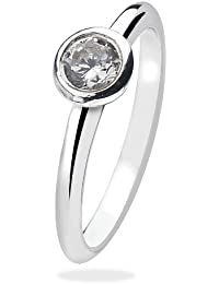 Virtue Silver Stackable VRS2002 Silver Plain Round Cubic Zirconia Cone Virtue Ring