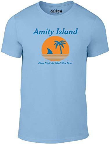 Reality Glitch Amity Island Mens T-Shirt (Medium, Light Blue)