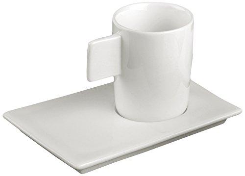 Deagourmet 800791, Geo Lot de 12 tasses et 12 sous-tasses en porcelaine blanche, set 24 pièces en carton blanc