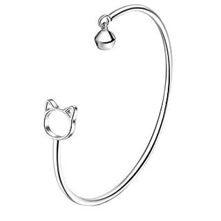 ACVIP Women's Silver Plated Bangle Kitten Small Bell Open Cuff Bracelet