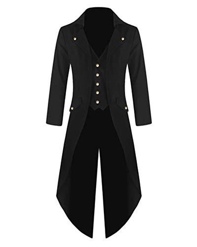 PengGengA Herren Steampunk Viktorianischen Mantel Mittelalterlichen Smoking Halloween-Kleid Renaissance Formalen Frack Unregelmäßig Schwarz ()
