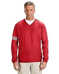 Adidas Golf Mens Climalite Colorblock V-Neck Wind Shirt - Power RED/Black - XL A147