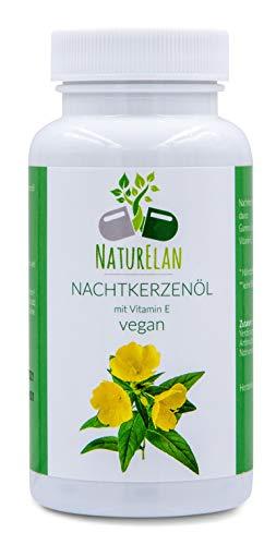 Nachtkerzenöl Kapseln vegan mit Vitamin E - 90 vegane Kapseln mit je 500mg Nachtkerzenöl (kaltgepresst) - Omega-6-Fettsäuren, Gamma-Linolensäure