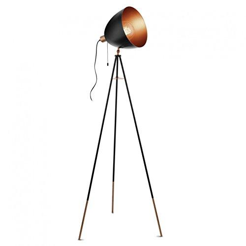 EGLO Vintage Chester - Vloerlamp - 1 Lichts - Zwart - Koper