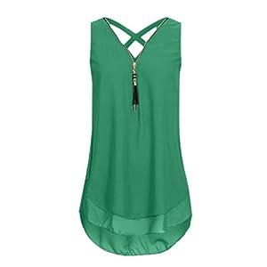 TWBB Damen T Shirt V-Ausschnitt Tank Tops Kreuz zurück Einfarbig Oberteile Hemd Ohne Ärmel Blusen