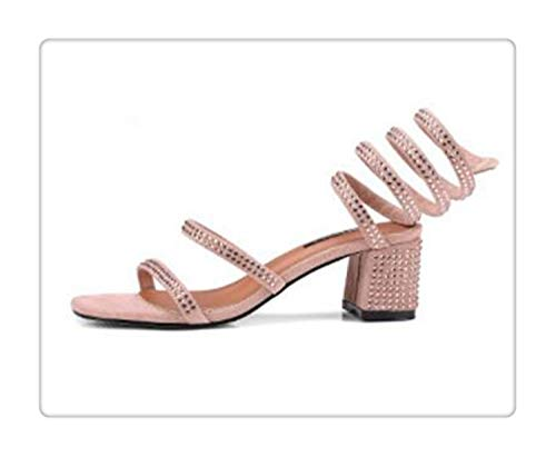 happy&live elegant Summer Sandals Women Narrow Band Gladiator Sandalias Mujer 2018 Thick Heel Boheme Slippers Shoes Sandalen Dames c341 apricot 4.5