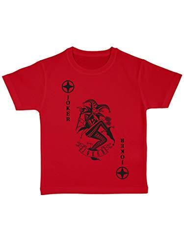 Kostüm Joker Und Rot Schwarz - clothinx Kinder T-Shirt Bio Karneval & Fasching Spielkarte Joker Kostüm Rot/Schwarz Größe 128