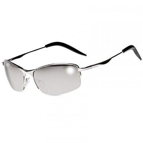 CASPAR SG010 Lunettes de soleil sportive style Matrix unisexe, Couleur:noir / teinté noir