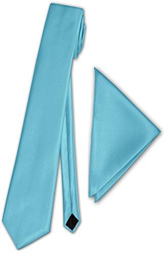Herren Schmale Satinkrawatte mit Einstecktuch Anzug Krawatte Edel Satin 30 Uni Farben NEU (Baby Blau)