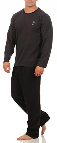 Hyund Langer Schlafanzug Anthrazit mit Motiv Hose schwarz Herren Gr. 54/XL schlafanzug herren schlafanzug nachtwäsche Größe Grösse Gr 48-50 52-54 56-58 herren nachtwäsche lang