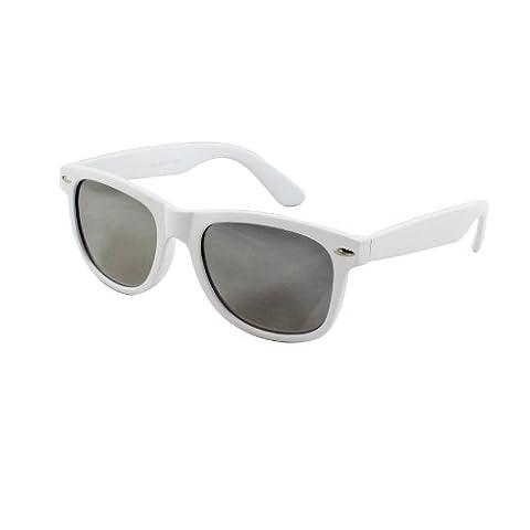 MLC Eyewear Wayfarer Fashion Sunglasses White Design with Smoke Mirror