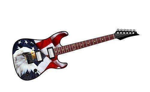 Cool Eléctrico Guitarra Diseño con Americano Águila y Ee.uu. Bandera Impreso Adhesivo de Vinilo para Coche 150x50mm