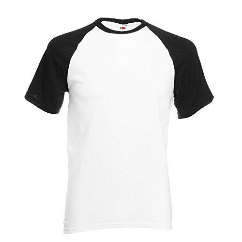 Fruit of the Loom - Kontrast T-Shirt 'Baseball T' Farbe White/Black Größe X-Large