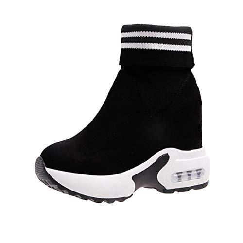 Benbzh Donna Scarpe da Ginnastica Corsa Sportive Fitness Running Sneakers Interior Casual all'Aperto Ladies Sports Street Scarpe da Ballo Fondo Spesso Scarpe Alte (Nero, 36) (Nero, 37)
