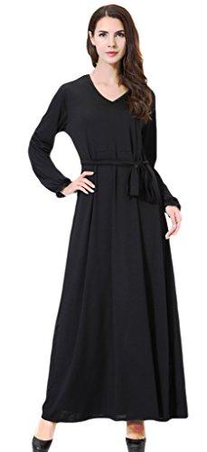 Auspicious beginning Damen Elegantes V-Ausschnitt Langarm Muslim Islamic Ganzer Länge Lace Hem Abaya Kleid mit (Arabische Kostüme Saudi Für Frauen)