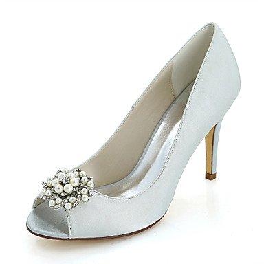 Wuyulunbi@ Scarpe donna raso Primavera Estate della pompa base scarpe matrimonio Stiletto Heel Peep toe Strass imitazione perla per il ricevimento di nozze e la sera. Argento