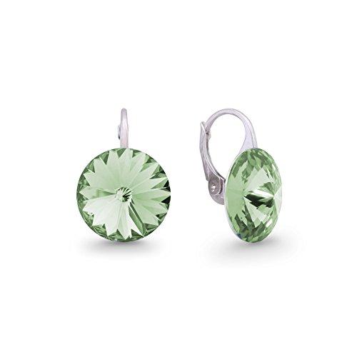 Ana Morales Boucles d'oreilles pour femme En argent Sterling 925 Avec cristaux Swarovski Chrysolite