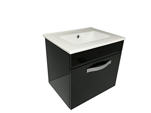 Starbath - set mobile da bagno sospeso stol 50 x 38 cm nero + lavabo ceramica . piccolo mobile bagno. ospiti wc