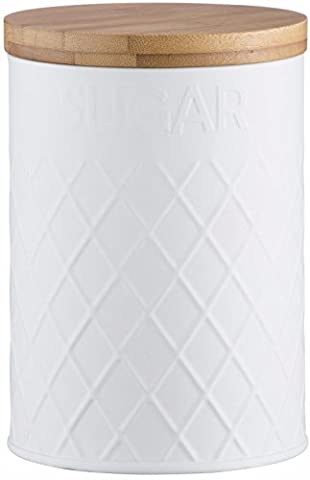 Typhoon Living Embossed Sugar Storage Canister, Stainless-Steel, White, 11.5 x 11.5 x 16 cm
