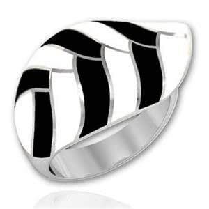ISADY - Sainte-Lucie - Women's Ring - stainless steel - Email Black - Size K