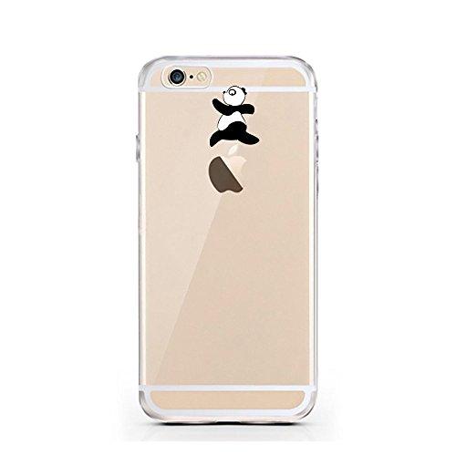 """licaso® iPhone TPU Hülle Disney Case transparent klare Schutzhülle Giraffe Hülle aus Silikon iphone6 Tasche Giraffen Case (iPhone 6 4,7"""", Giraffe WTF?) Panda springt"""