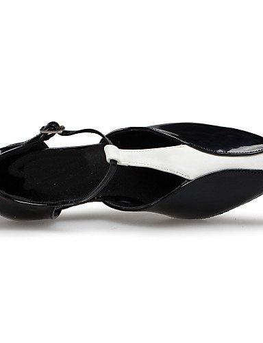 ShangYi Chaussures de danse(Rouge / Blanc) -Personnalisables-Talon Bottier-Cuir-Latine / Samba White