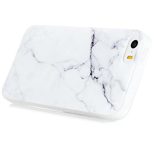 iPhone 5/SE Hülle Badalink UltraSlim Schutzhülle TPU Handyhülle Case Cover Schwarz Marmor Handytasche Anti-Rutsch Kratzfest + Eingabestifte + Staubschutz Stecker Grau
