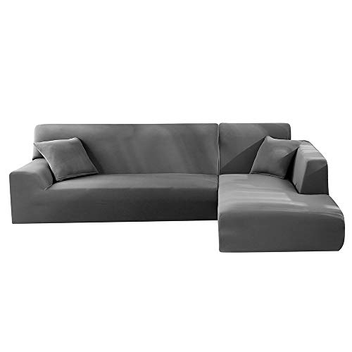 Stronghigheu Housse de Canapé Salon Extensible Polyester Spandex Couvereture de Canapé d'angle Elastique Anti-poussière Couvre pour canapé en L (3+4 Places, Gris)