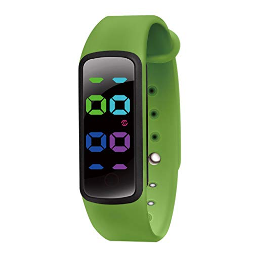 WOB Smartwatch für Kinder,Zeitfunktion intelligente Uhr,3 Sätze von Alarmeinstellungen Bluetooth Smartwatch,IP67 Wasserdichtigkeit Sport Uhr Laufuhr für Kids Jungs Mädchen (Grün)