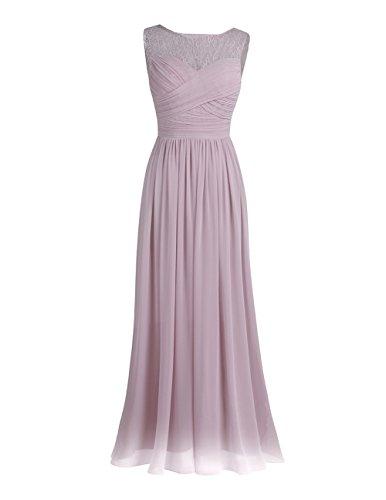 Rosen Langes Kleid (Tiaobug Damen Kleider festliche elegant Brautjungfer Abendkleid Hochzeit Cocktailkleid Chiffon Faltenrock langes kleid Gr. 34-46 Dusty Rose 42(Herstellergröße: 12))