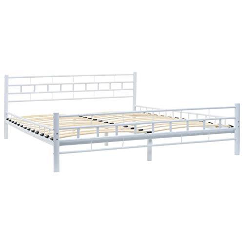 vidaXL Estructura de Cama de Metal y somier 160x200 cm Bloques Blanca