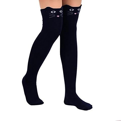 Vente chaude!Chaussettes Femme,Manadlian Chat Catoon Bas au Genou Haut Chaussette (taille unique, Noir)