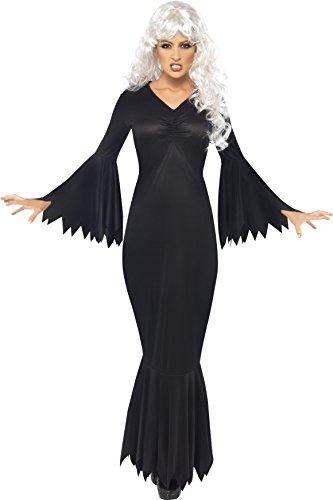 In Kleid Schwarzes Kostüm Halloween (Smiffys, Damen Mitternacht-Vampir Kostüm, Kleid, Größe: M,)