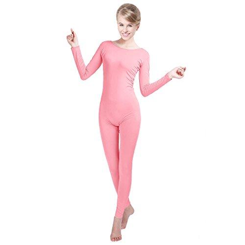 Unisex Licra Unitard cuello redondo manga larga Footless elastano Body de disfraz, rosa