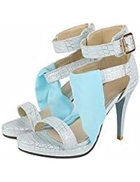 Zapatos de tallas grandes sandalias Dreamgirl tiras peep toe sandalias de tacón alto SIZE,Wathet,42