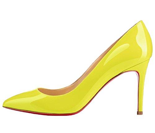 HooH Femmes Pointed Toe Mariage Pumps Stiletto Rouge Semelle Jaune