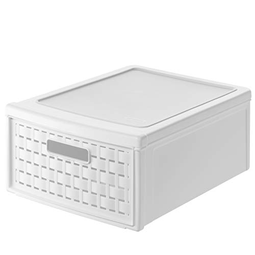 Rotho Country Schubladenbox 8.3 l in Rattan-Optik, Kunststoff (PP), weiss, 8.3 Liter (35 x 26 x 14 cm)