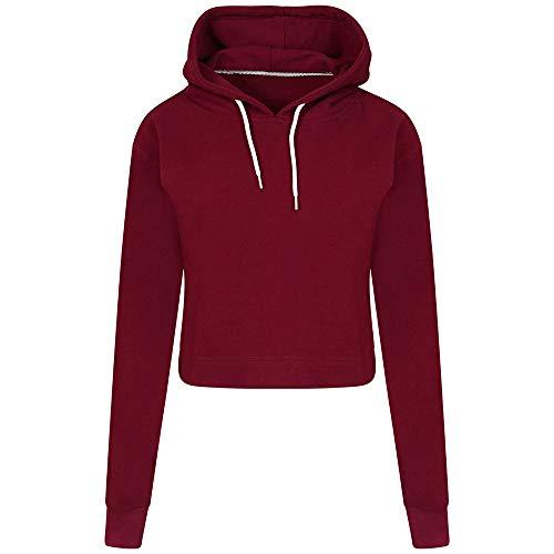 VRTUR Damen Herbst Und Winter Hoodie Kapuzenpullover Elegante Einfarbig Zur Seite Fahren Oberteile Sweatshirt (XL,Wein)