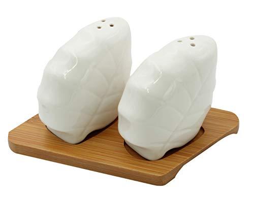 Royal White Salt (Salz- und Pfefferstreuer aus Keramik, Blätter, 3-teiliges Set)